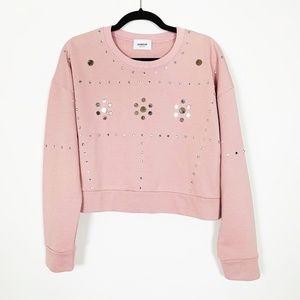 DONDUP Mirror Embellished Detail Crop Pink Sweater